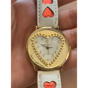 Women's Watch Heart Gold White